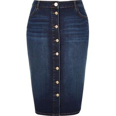 River Island RI Plus blue denim button-up pencil skirt ($70) ❤ liked on Polyvore featuring skirts, blue, denim skirts, women, high waisted pencil skirt, high-waist skirt, button front denim skirt, plus size skirts and knee length denim pencil skirt