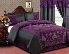 Elegance 4pcs Complete Double Bed Set/ Duvet Cover, Valance Sheet, Pillow Case, Black with Purple