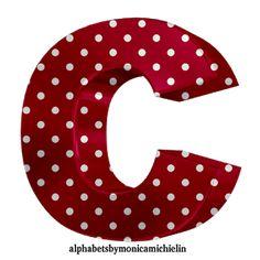 Monica Michielin Alphabets: ALFABETO VERMELHO DE BOLINHAS, RED POLKA DOTS ALPHABETS