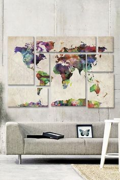 World Map Urban Watercolor II 8 Panel Sectional Wall Art | Now you keep track of your adventure around the world | DIY wall art