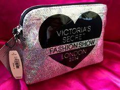 New Victoria's Secret Bag Makeup Silver Sequins Fashion London Angel Wings Heart #VictoriasSecret #Clutch