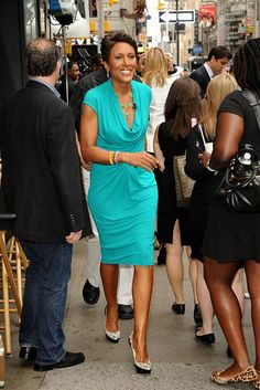 584a555626422 Always First Lady Chic, Robin Roberts rocks teal like no other. Dark Colors,