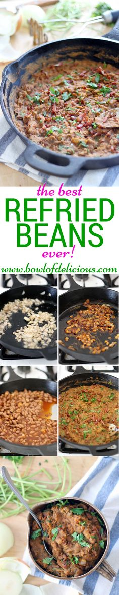 Pinner says: These are the Best. Fully endorsed by my native Texan husband. Just a few ingredients and about 15 minutes for the most flavorful and fresh refried beans you have ever had! Mexican Dishes, Mexican Food Recipes, Vegetarian Recipes, Cooking Recipes, Healthy Recipes, Bean Recipes, Side Recipes, Tostadas, Food Dishes