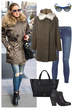 Shop Olivia Palermo's cold-weather parka look, here: