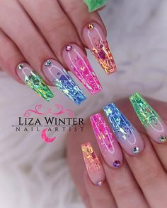 Installation of acrylic or gel nails - My Nails Summer Acrylic Nails, Best Acrylic Nails, Summer Nails, Fancy Nails, Bling Nails, Nagellack Design, Cute Acrylic Nail Designs, Fire Nails, Rainbow Nails