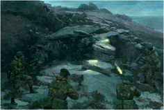 45 Commando atop Two Sisters engaging an Argentine bunker at close quarters Military Art, Military History, South Georgia Island, Marine Commandos, Falklands War, War Thunder, Royal Marines, Modern Warfare, Cold War