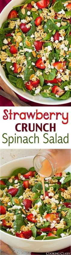 Strawberry Crunch Spinach Salad - this is the BEST summer salad! I love the crunch the ramen adds. Spinach, strawberries, goat cheese, almonds, ramen, green onions and a honey-red wine vinaigrette. by aileen