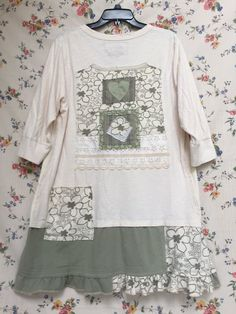 Upcycled Loose Fit Tunic Artsy Clothing Appliqué Casual
