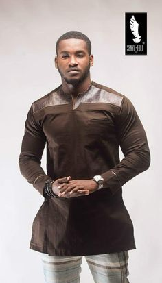 Senyo Foli is a long standing brand with it's prime focus on quality and style. Although it has been around for a fair amount of time, Senyo Foli made a major African Attire, African Wear, African Dress, African Style, Nigerian Men Fashion, African Men Fashion, Mode Masculine, Boyfriend Girlfriend Shirts, One Direction Shirts