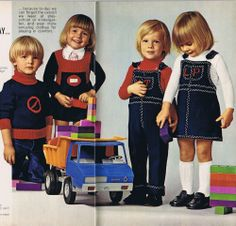 VINTAGE KNITTING CROCHET PATTERNS 70s Children's Sweaters Jumpers Cardigans Mon