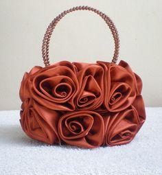 Beautiful Satin Rose Evening Handbag by MadeBySiam on Etsy, $19.00