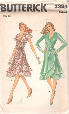 Butterick 3384 1980s Misses Flirty Party Evening Wrap Dress Pattern by mbchills