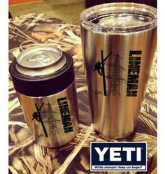 Please allow at least 4 weeks for delivery. Made to order. Enjoy your beverage on the road with the YETI, which offers a convenient no-sweat design. Featuring vacuum-insulated, brushed stainless-steel construction to help keep your hot drinks hot and c Lineman Love, Lineman Gifts, Power Lineman, Lineman For The County, Wood Walker, Journeyman Lineman, Yeti Cup, Silhouette Cameo Projects, High Voltage