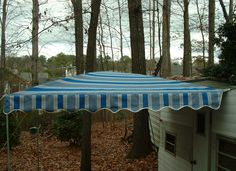 Vintage Trailer Awning by Kristi Arched Awning 7 1/2' Sunbrella Baycrest Pacific Shock poles add lift for extra height underneath and incline for rain run-off dfoster@bellsouth.net
