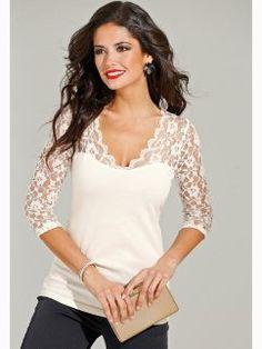 Camiseta de vestir mujer manga 3/4 con encaje