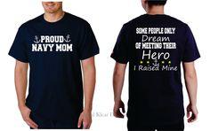 Proud Navy Mom - Navy Blue, Short Sleeve T-Shirt by KKDcustomized on Etsy
