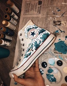 VSCO + ☆ - ☆ VSCO + ☆ - Harajuku cosmic moon painted shoes The Great Wave off Kanagawa hand painted onto converse high Custom Shoes, Custom Clothes, Diy Clothes, Custom Sneakers, Aesthetic Shoes, Aesthetic Clothes, Vetements Shoes, Painted Clothes, Hand Painted Shoes