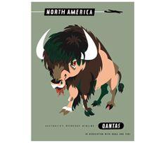 Qantas Retro Poster, North America