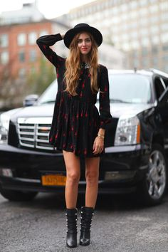 The 12 Most Popular Italian Street-Style Stars to Know - Chiara Ferragni in a chic hat + long sleeve mini dress