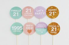 21s birthday party decorations, party toppers to dress up drinks and food #21st…