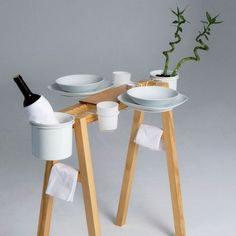 What could be more romantic than a plywood dinner table made for two?