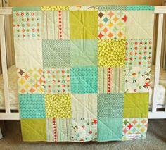 SALE HALF OFF,  Baby Boy Quilt, Patchwork Quilt, Modern, Kite, Blue, Orange Red, Lime Green, White on Etsy, $37.50