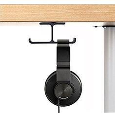 Headset Headphone Mount, 6amLifestyle Aluminum Under desk Dual Headsets Hanger Holder Stand, Stick-On Hooks Universal for All Headphones, Black (Patented)
