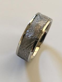 Spectacular slice of meteorite lined in white gold, wide. Gibeon Meteorite, Custom Made Engagement Rings, Gents Ring, Ring Crafts, Rings For Men, White Gold, Wedding Rings, Couples, Unique