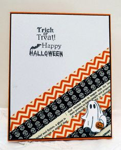 handmade Halloween card from Sleepy in Seattle . diagonal washi tapes cover one coerner . luv the little ghost prowling in the corner with the tape . Halloween Cards, Halloween Themes, Halloween Skull, Washi Tape Cards, Washi Tapes, Fall Cards, Holiday Cards, Cricut Cards, Thanksgiving Cards