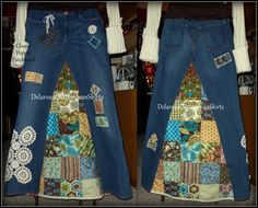 Patchwork de Hippie clásico orden de encargo de falda Jean larga para su tamaño 0-2-4-6-8-10-12-14-16-18-20-22-24-26