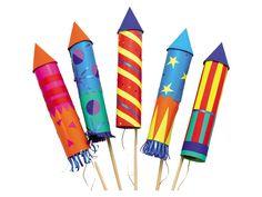 Vrolijke vuurpijlen - Maak veilig vuurwerk met allerlei kleuren papier. Met een stokje voor in de grond en vliegertouw als lontje lijkt het net echt!