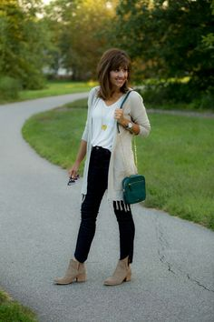 Tassel Cardigan + Step Hem Jeans