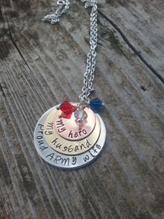 Proud ARMY Wife  Hand Stamped Jewelry  by KristinaDeesKreation, $40.00