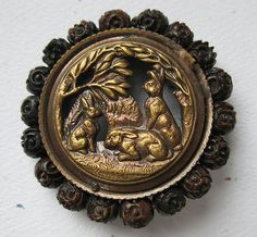 Large Antique Bunny Rabbit Motif Picture Button w Surrounding Wooden beads.