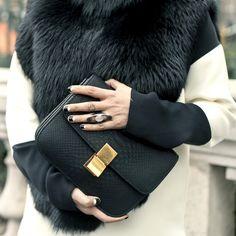 Céline black snake bag and fur