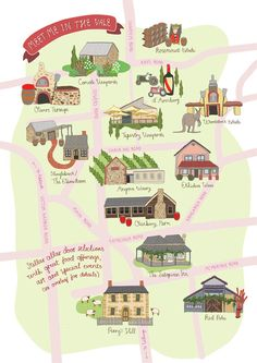 Pip Kruger - A map  showcasing a selection of the incredible wineries and eateries that Mclaren Vale has to offer.