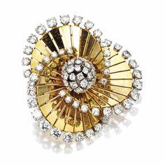 18 KARAT GOLD PLATINUM AND DIAMOND 'TOURBILLON' BROOCH, VAN CLEEF & ARPELS, PARIS, CIRCA 1955