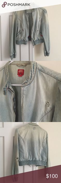 Real vintage '80s Miss Sixty denim jacket Unique '80s jacket in a cropped cut with slightly puffy shoulders and a rounded collar. Stitching in red. The years of wear have given it a naturally faded, distressed look that really gives it character. The denim has become incredibly soft! A one of a kind item! Miss Sixty Jackets & Coats Jean Jackets