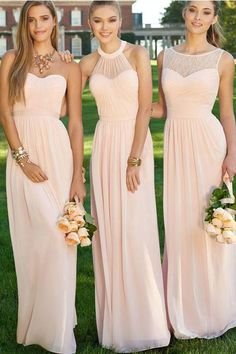 Simple Bateau Sleeveless Floor-Length Pink Bridesmaid Dress with Lace Ruched