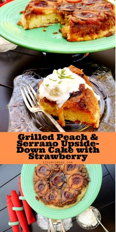 This Grilled Peach & Serrano Upside-down Cake with Strawberry is the perfect summer dessert recipe. Whip this up for your next cookout! #grill #peach #cake #dessert #upsidedowncake Summer Grilling Recipes, Summer Dessert Recipes, Easy No Bake Desserts, Desert Recipes, Trifle Pudding, Grilled Peaches, Smoking Recipes, Homemade Snickers, Birthday Desserts