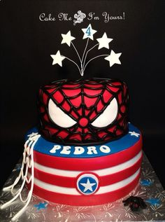 Spider-Man Meets Captain America Cake. I REALLY like the character per layer thing!
