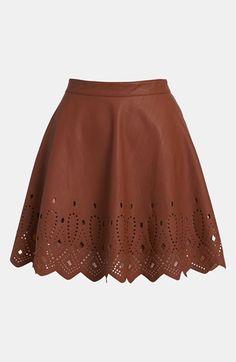 ASTR Cutout Faux Leather Skirt Coconut Medium