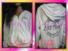 #VSPINK 99 Cent #ebay #auction ends #Sunday #September 8thNew Victoria's Secret Pink s White Two Tone Perfect Zip Baggy Hoodie sweat Shirt   eBay