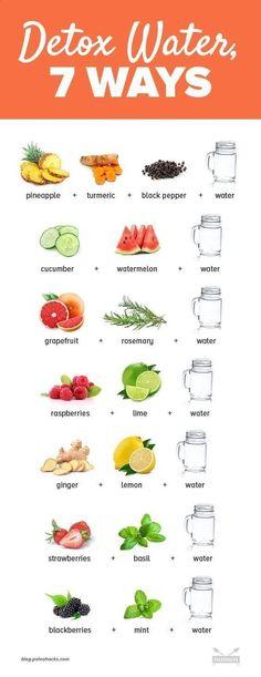 Detox With These 7 Fruit-Infused Water Recipes day detox diät diät 3 tage drinks rezepte rezepte abnehmen smoothie rezepte toxins wasser rezepte weightloss Healthy Detox, Healthy Smoothies, Healthy Drinks, Healthy Eating, Healthy Recipes, Healthy Foods, Juice Recipes, Cleanse Recipes, Easy Detox