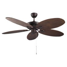 Add a striking focal point to your jungle-themed room with this 5-spoked ceiling fan, finished in copper brown. Team with bamboo print wallpaper and white ga...