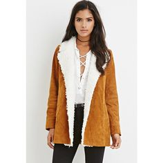 Forever 21 Forever 21 Women's  Faux Shearling-Trim Genuine Suede Coat ($75) ❤ liked on Polyvore featuring outerwear, coats, full length coat, white coat, suede coat, lightweight coat and forever 21 coat