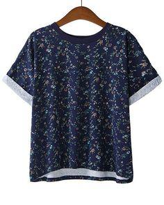 Camiseta suelta floral manga corta-marino US$19.25