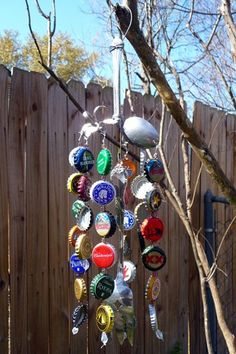 Trina is artsy fartsy: How To Make a Bottle Cap Wind Chime.  I saw the first one several years ago and had an idea of how to connect the caps, but this fully explains how to link them with wire. Now I can't wait to make mine!