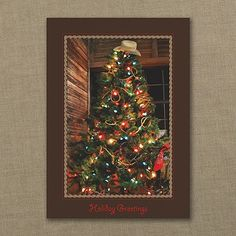 Cowboy Christmas Tree - Cowboy Christmas Cards  http://partyblockinvitations.occasions-sa.com/Holiday/Seasons-Greetings-Cards/YM-YM30680FC-Cowboy-Christmas-Tree--Holiday-Card.pro Country Western Christmas Cards more here: http://www.westernholidaycards.com