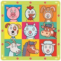 Puzzle zvířecí hlavičky - Bino